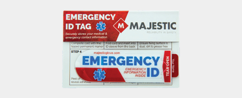 Hard hat emergency identification tag