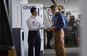 Cintas representative describing service record