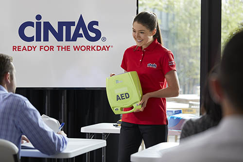 Cintas representative teaches about AEDs and how they are used