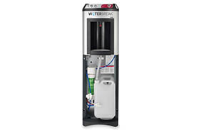 Open Cintas WaterBreak unit showing drain bottle  and hot and cold water tubing