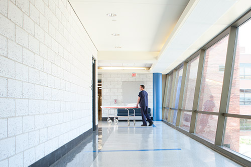 Nurse pushing a gurney in a hospital hallway