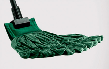 Green mop head on a black plastic mop handle