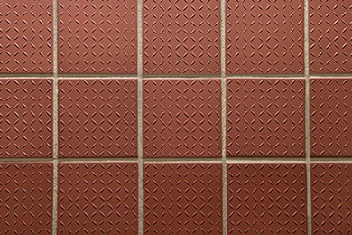 Clean red tile and grout after Cintas cleaning