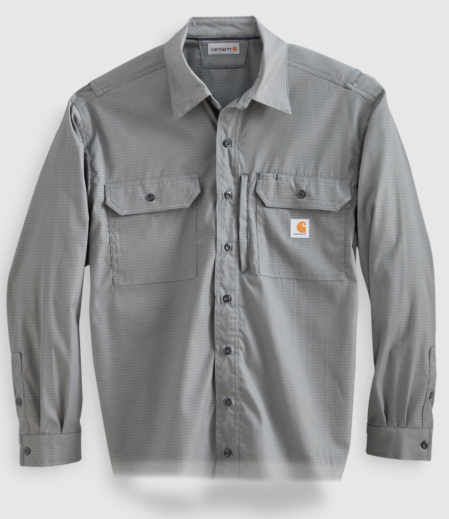 Construction workers in heavy duty, blue button up, long sleeve shirts