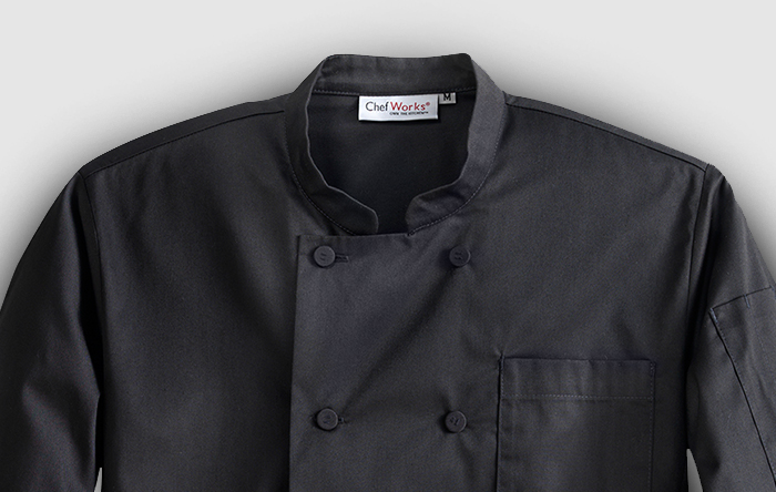 Black signature chef coat thumbnail