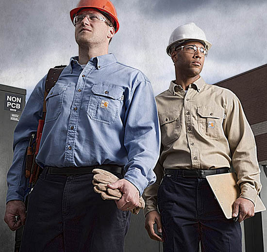 Employees in Carhartt flame resistant shirts and pants