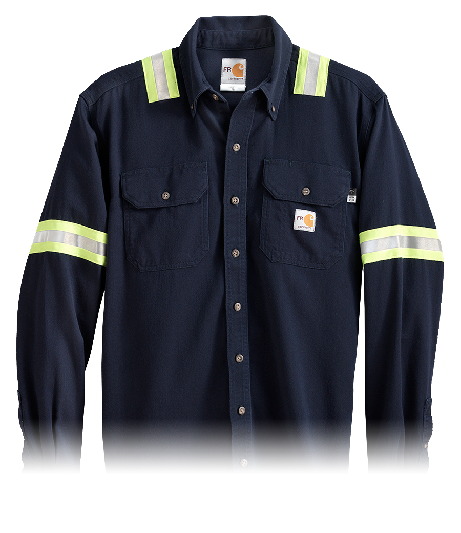 Blue button-down Flame Resistant Clothing