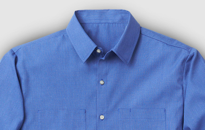 Blue collared button up shirt