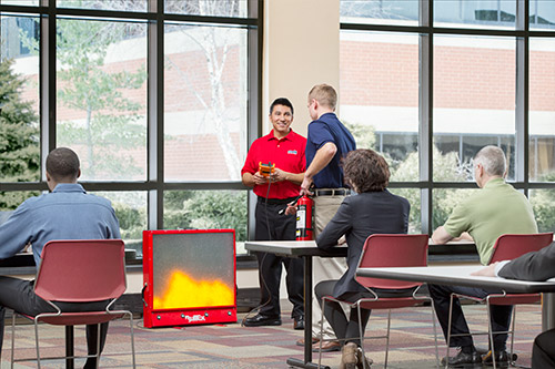 Fire extinguisher training with certified Cintas representative