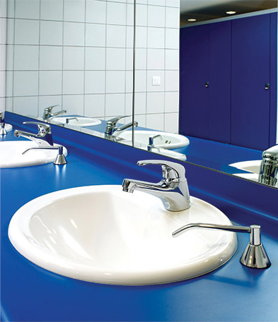 Clean bathroom sink after Cintas restroom cleaning services
